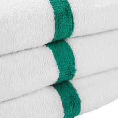12 Pack of Gym Power Bath Towels: 22 x 44, Striped Color Options, 100% Cotton
