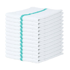 12 Pack of Qwick Wick Bar Mop Towels: 16 x 19, Terry Cotton, Striped, Color Options