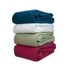 Aspen Throw Blankets - Assorted Case of 12 - 50 x 60 - 100% Cotton