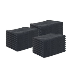 24 Pack of Microfiber Salon Towels: Bleach Safe, Black,16 x 27