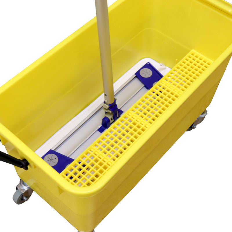 Arkwright Flat Mop Bucket - 6 Gallons with Ergonomic Handle, Lid, Sieve and Wheels, Yellow
