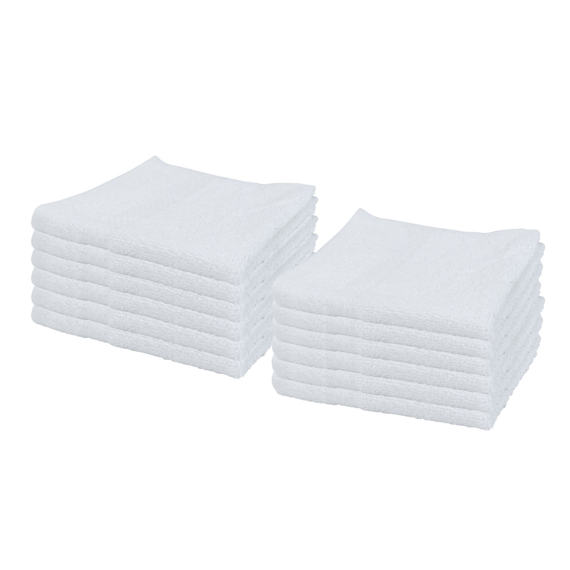 12 Pack of Admiral Hospitality White Washcloths - Size Options - 100% Cotton