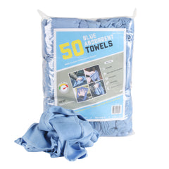 Bag of 50 Cotton Blue Huck Towels: 14 x 24, Multi-Purpose Cleaning Towels
