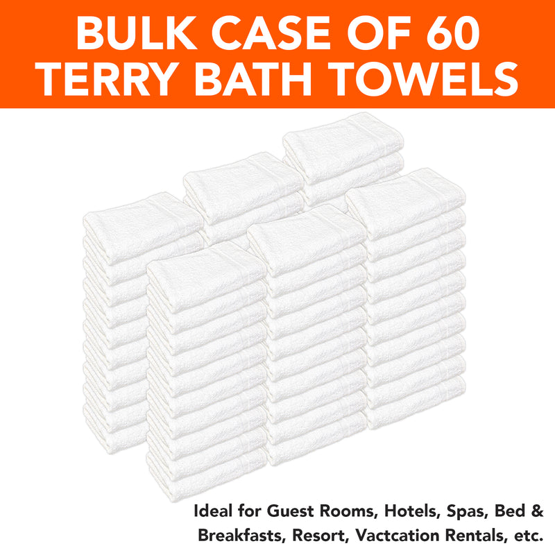 Elite Pearl Bath Towels - CASE of 60 - Ring Spun Cotton - Size Options