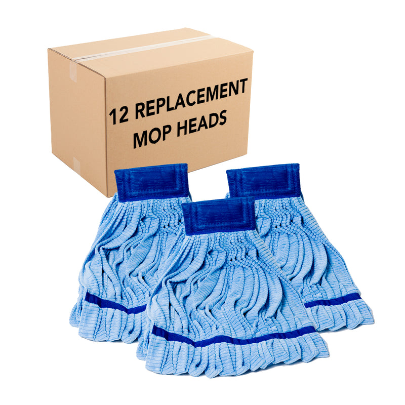 Case of 12 Microfiber Tube Mop Heads, Size & Color Options, Highly Absorbent, Quick Drying, Ideal for Home, Commercial, and Industrial Use