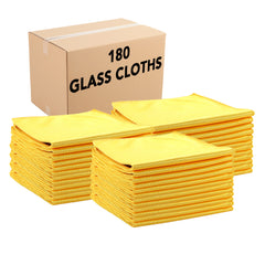 Case of 180 Microfiber Glass Cleaning Cloths 16 x 16 Inch - Color Options