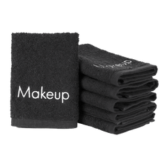 6 Pack of Embroidered Makeup Towels: 13 x 13, 100% Cotton, Black