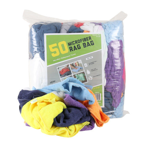 Bag of 50 Microfiber Cleaning Rags: Assorted Colors, 12 x 12