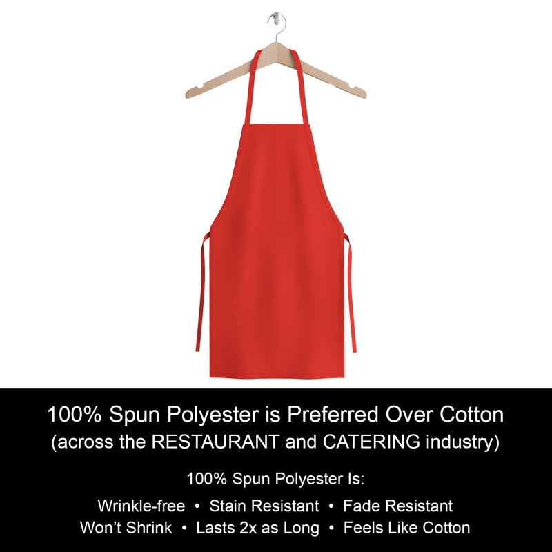 12 Pack of Mariposa Kitchen Aprons: Color Options, 100% Spun Polyester