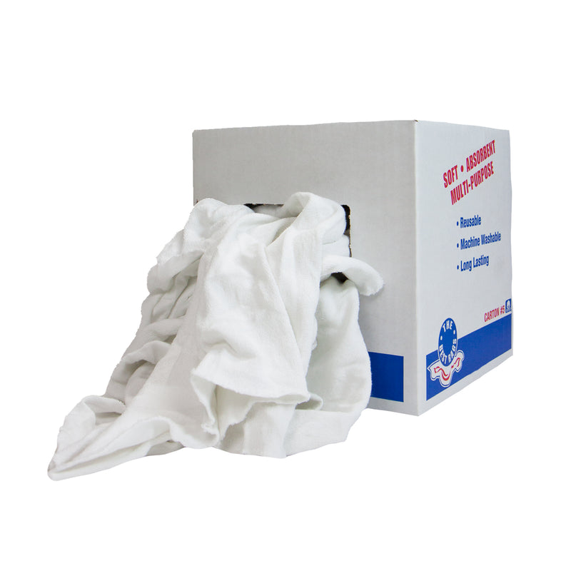 White One Side Terry and One Side Smooth Cleaning Rags - Packaging & Size Options