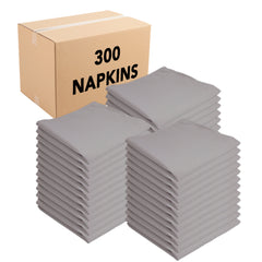 Case of 300 Arkwright Durable Cloth Napkins, Large 20x20, Solid Polyester Dinner Napkins with Hemmed Edges