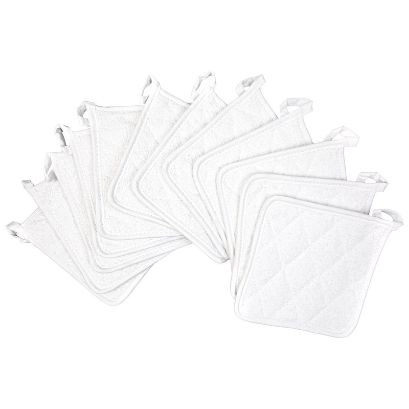 12 Pack of Cotton Pot Holders: 7 x 7, Looped, Color Options