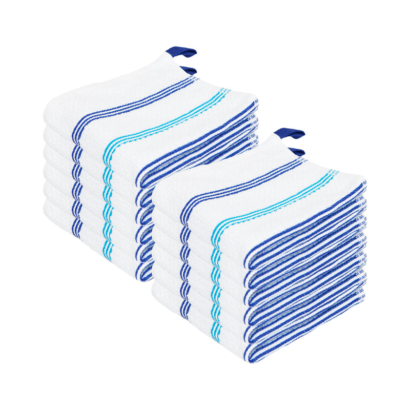 12 Pack of Premier Cotton Dishcloths: Striped w/ Color Options, 13 x 13, 100% Cotton