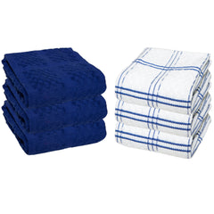 6 Pack of Premier Kitchen Towels: 15 x 25, 100% Cotton, Popcorn Pattern, Color Options