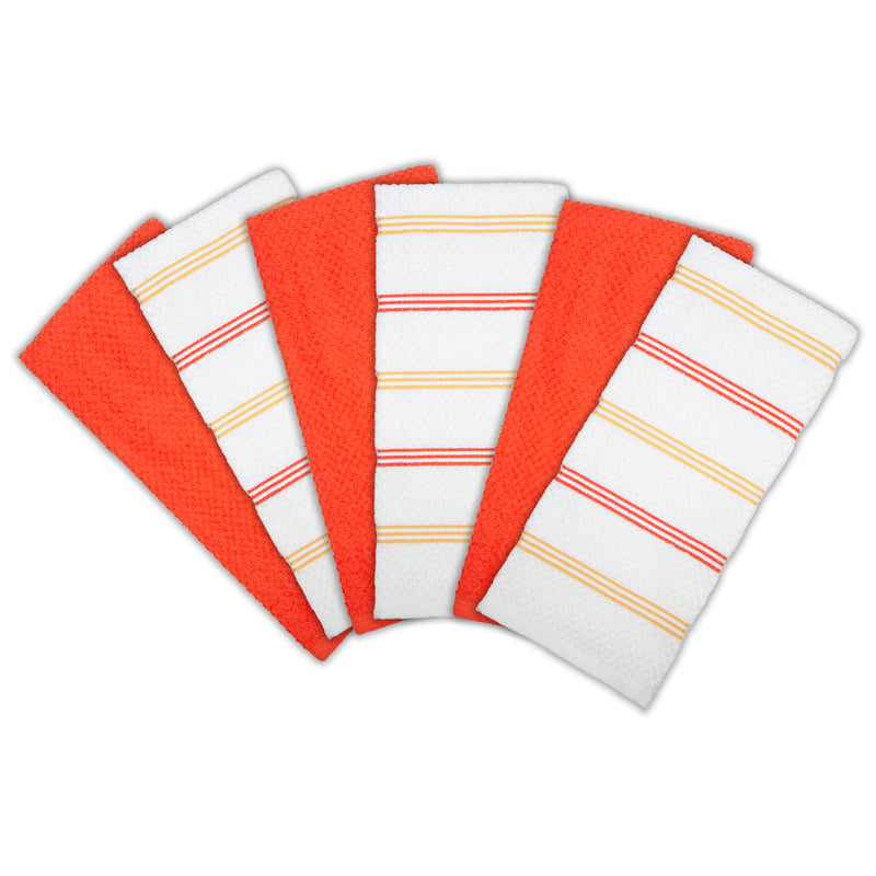 6 Pack of Premier Kitchen Towels: 15 x 25, 100% Cotton, Striped Pattern, Color Options