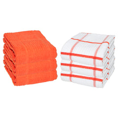 6 Pack of Premier Kitchen Towels: 15 x 25, 100% Cotton, Windowpane Pattern, Color Options