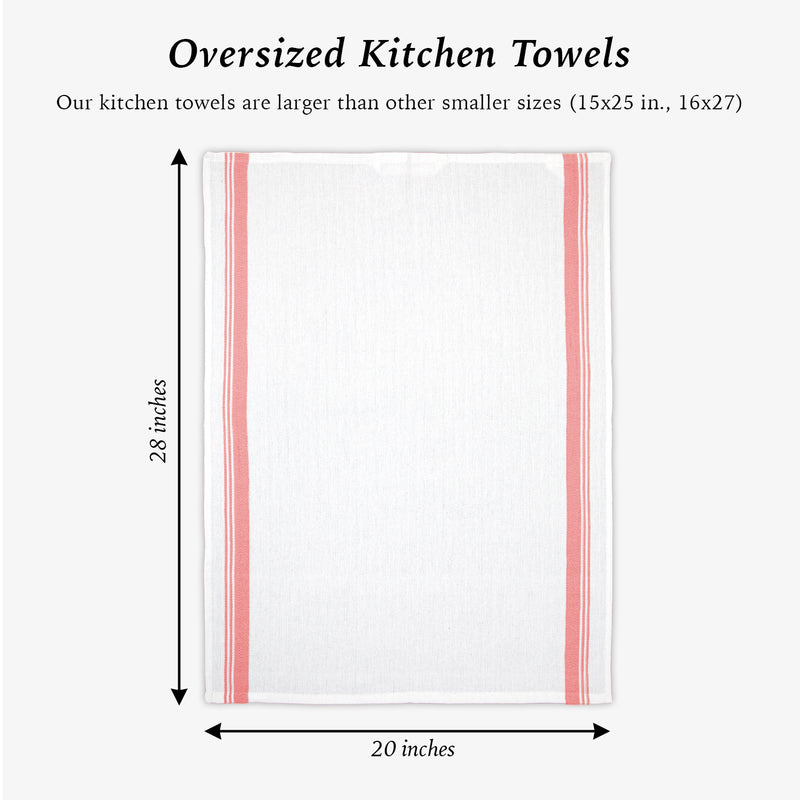 Sloppy Chef Herringbone Kitchen Towels (Oversized 20x28) - Pack of 12 - Perfect 100% Cotton Dish Towel, Tea Towel