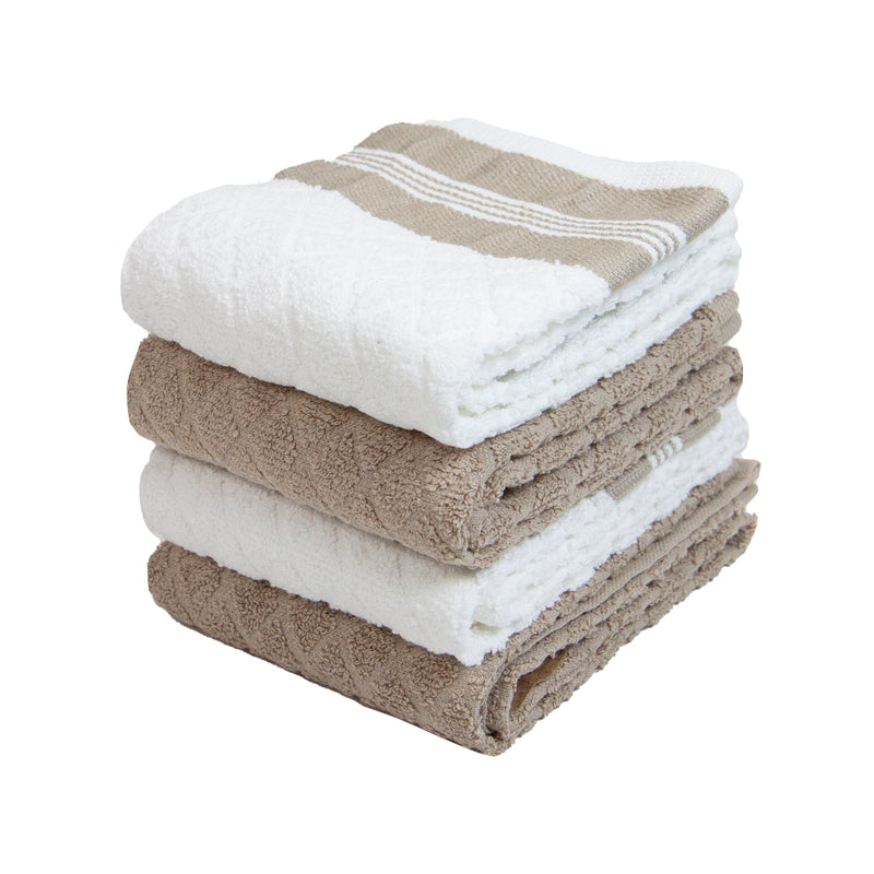 4 Pack of Kitchen Towels: 15 x 25, Striped With Diamond Pattern, Treated with Silvadur Anti-Microbial Properties