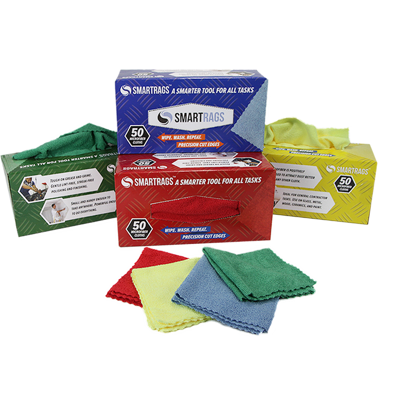 Box of 50 Microfiber Smart Rags: 12 x 12, Color Options