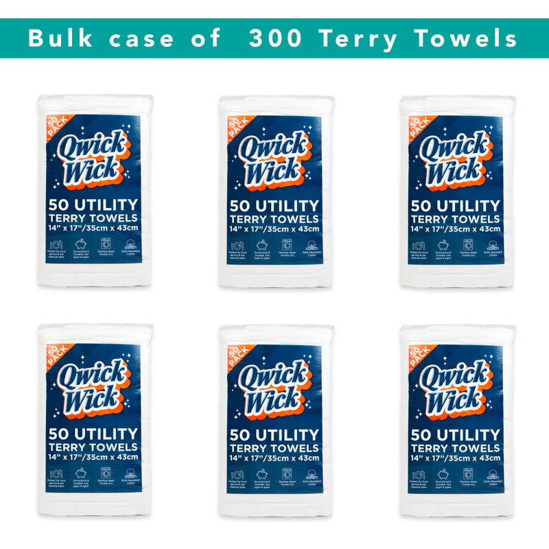 Case of 300 White Terry Towels - 14 x 17 - 6 Bags of 50 Towels