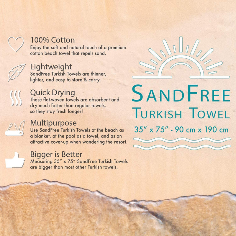 Sand Free Turkish Beach Towel: 35 x 75, Striped Color Options, 100% Cotton