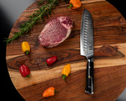 "Regalia Emperor Series 7"" Santoku Knife w/ Scalloped Edge AUS10V Japanese 67 Layers Damascus Steel"
