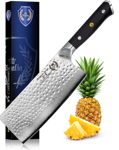 "Regalia Emperor Series 7"" Cleaver Knife w/ Hammered Finish AUS10V Japanese 67 Layers Damascus Steel"