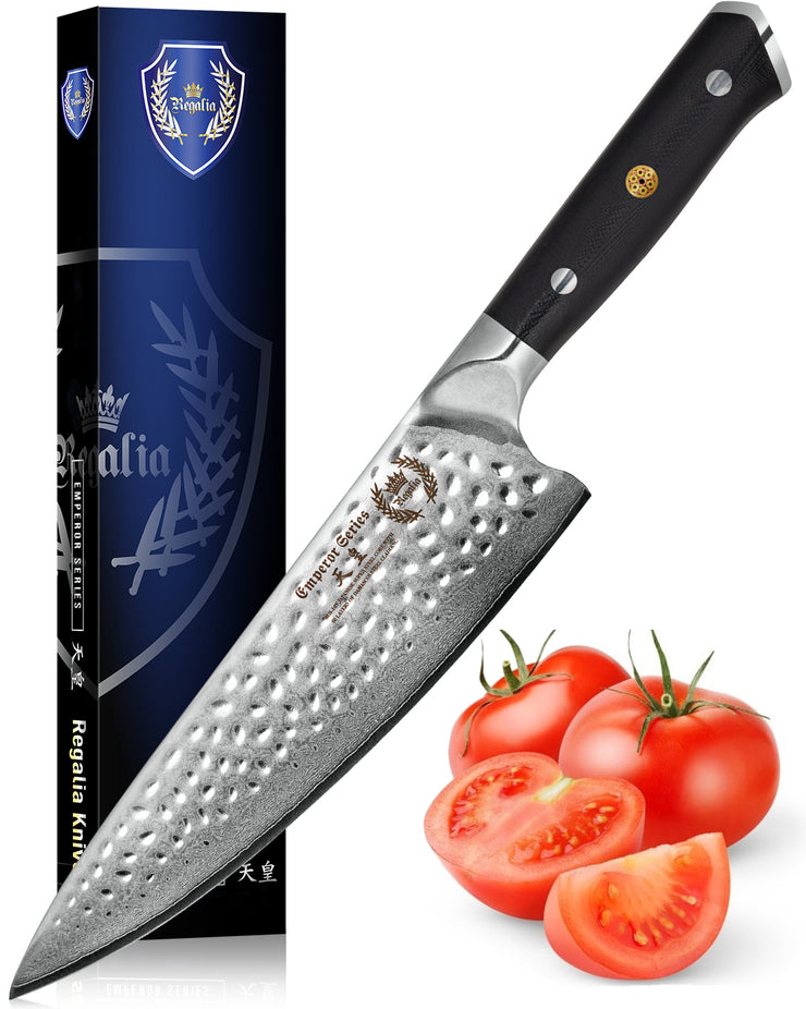 "Regalia Emperor Series 8"" Chef Knife w/ Hammered Finish AUS10V Japanese 67 Layers Damascus Steel"