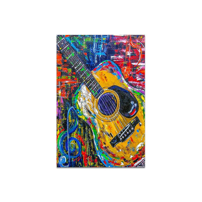 Modern Multicolor Acoustic Guitar Glass Abstract Painting