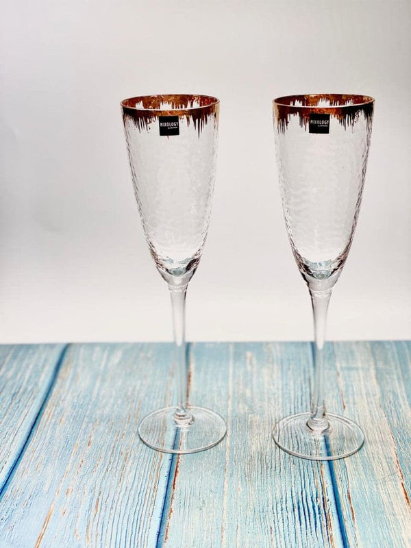 Beaten Gold Decal Champagne Glasses - Set of 2