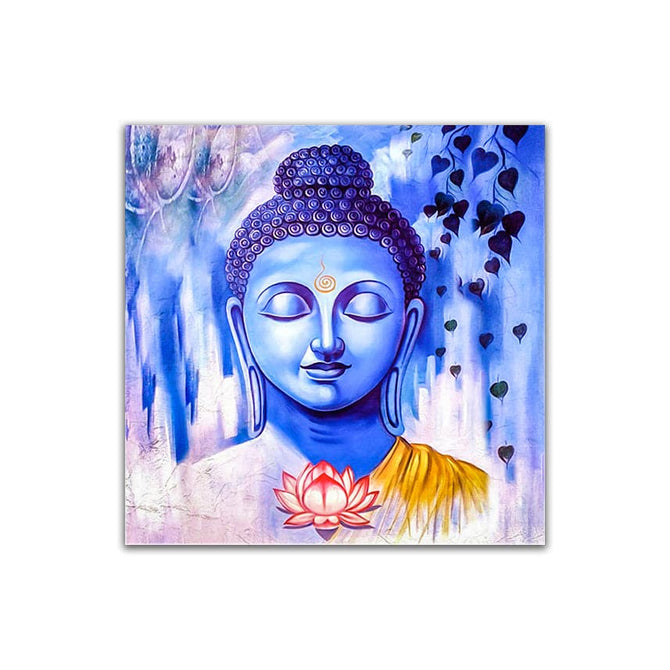 Frameless Beautiful Wall Painting for Home: Gautam Buddha Light Blue Shades