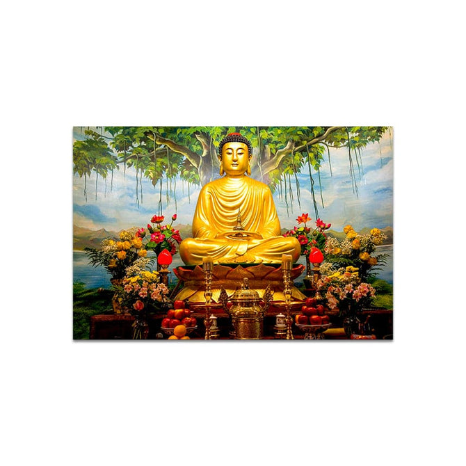 Golden Lord Gautam Buddha Peace Glass Painting