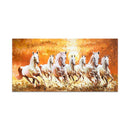Frameless Beautiful Wall Painting for Home: Seven-Horses-Golden-Oil-Glass-Painting