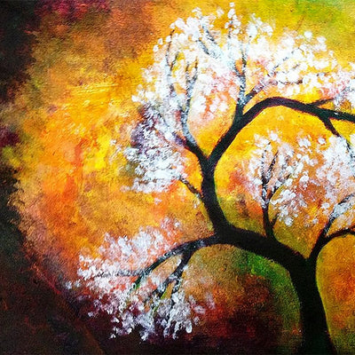 Beautiful Multiple Frame Colourful Wall Painting for Living Room: Shaded Tree