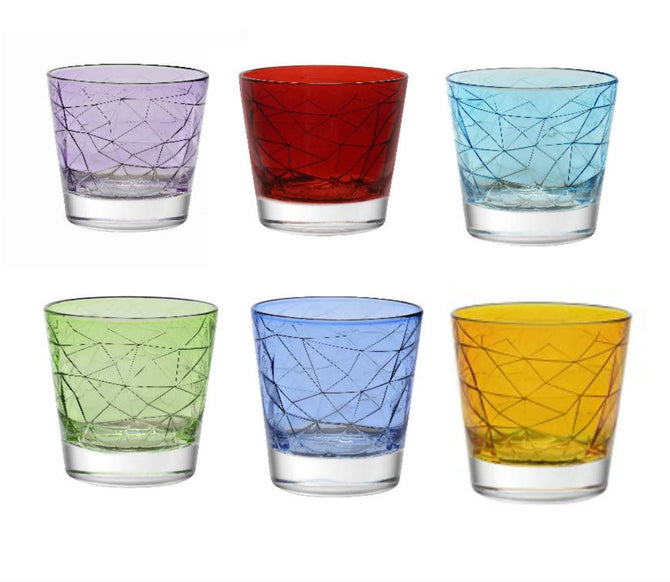 Vidivi 370ML Dolomiti Colored Tumblers DOF Set of 6