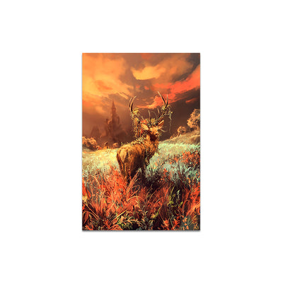 Abstract Frameless Wall Painting for Home: Modern Wildlife Deer