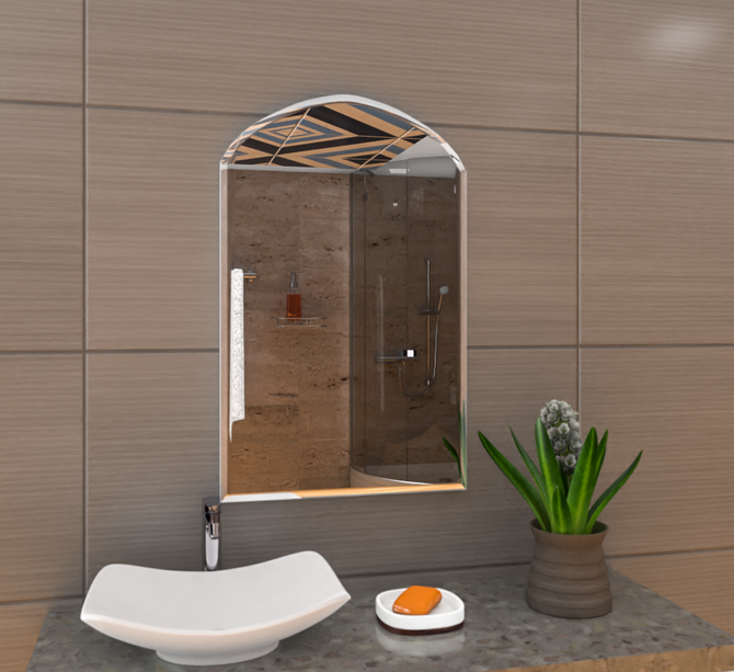 Semi-Round Rectangular Bevelled Mirror Frameless (Saint-Gobain)