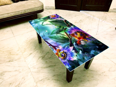 Floral Coffee Table with Glass Top & Wooden Base- FGCT-07