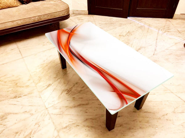 Abstract Art Designer Center/Coffee Table with Glass Top - FGCT-33