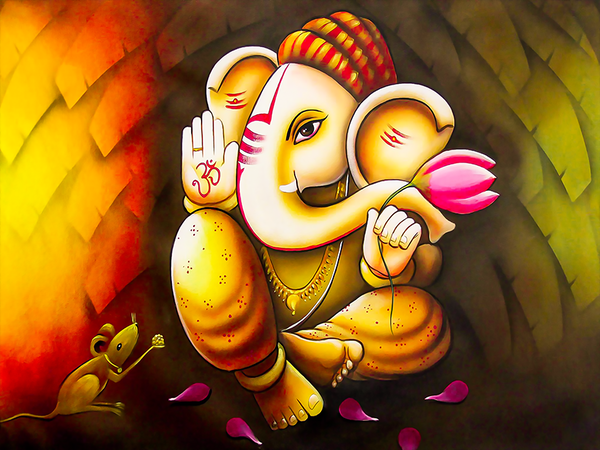 Beautiful Wall Painting for Home: Lord Ganesha Multi Color Oil Painting