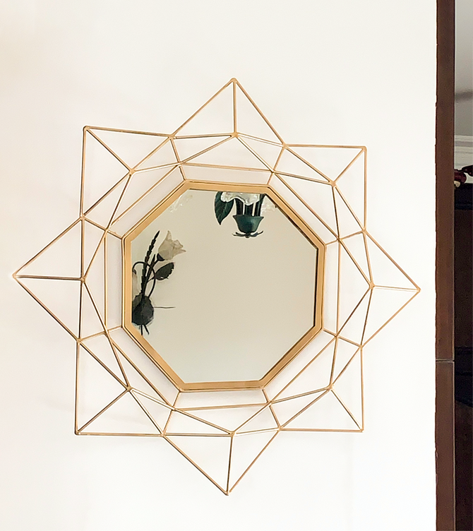 Decorative Mirror - Golden Octagonal flare mirror