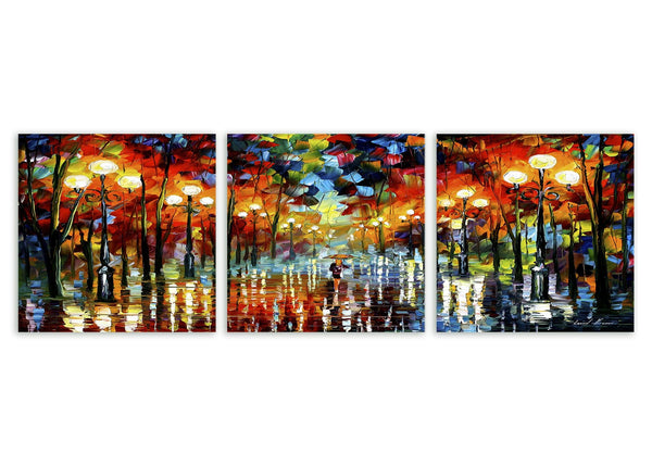 Abstract Multi Frame Colourful Wall Painting for Living Room: Rainy Light Blues