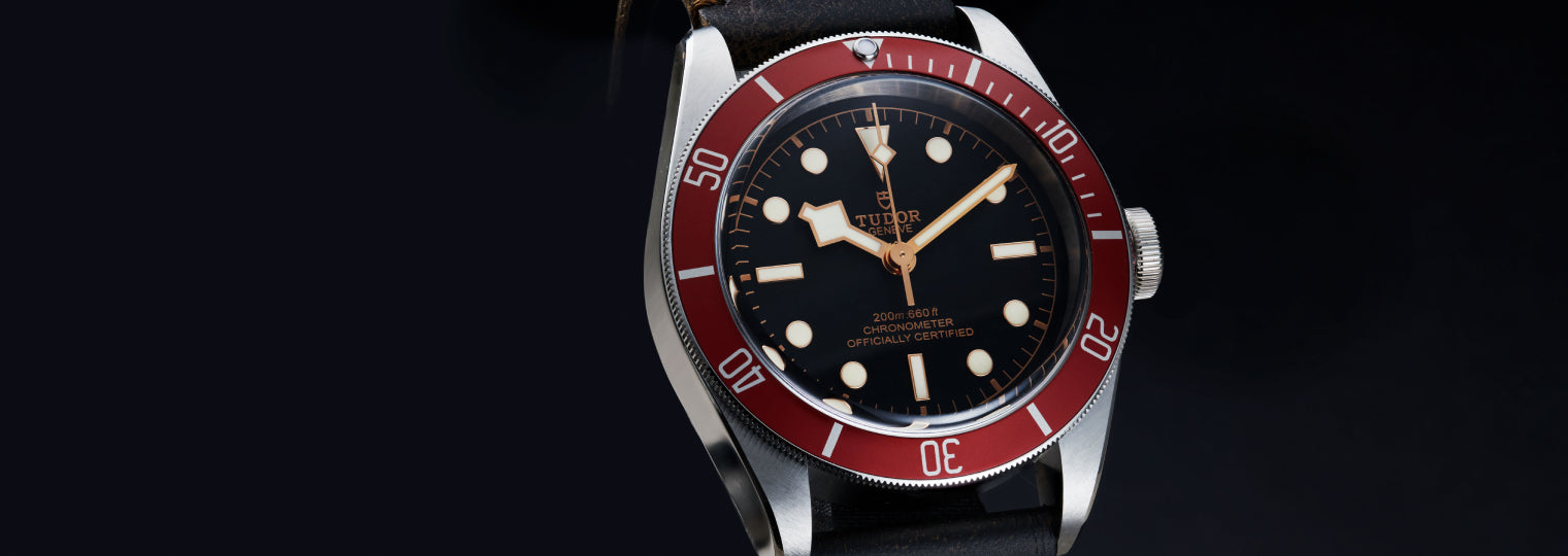 Tudor Black Bay 79230R-011 with red aged leather strap