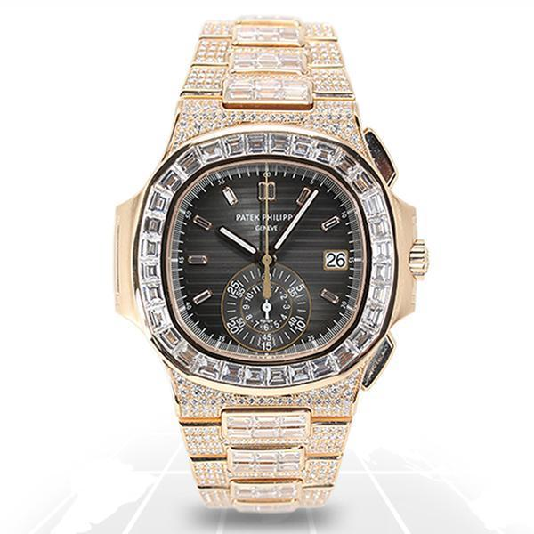 Patek Philippe Nautilus Chronograph Full Factory Diamond 5980/1400R-010