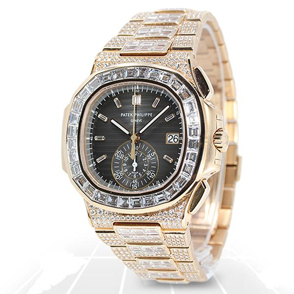 Patek Philippe Nautilus Chronograph Full Factory Diamond 5980/1400R-010 Luxury Watches