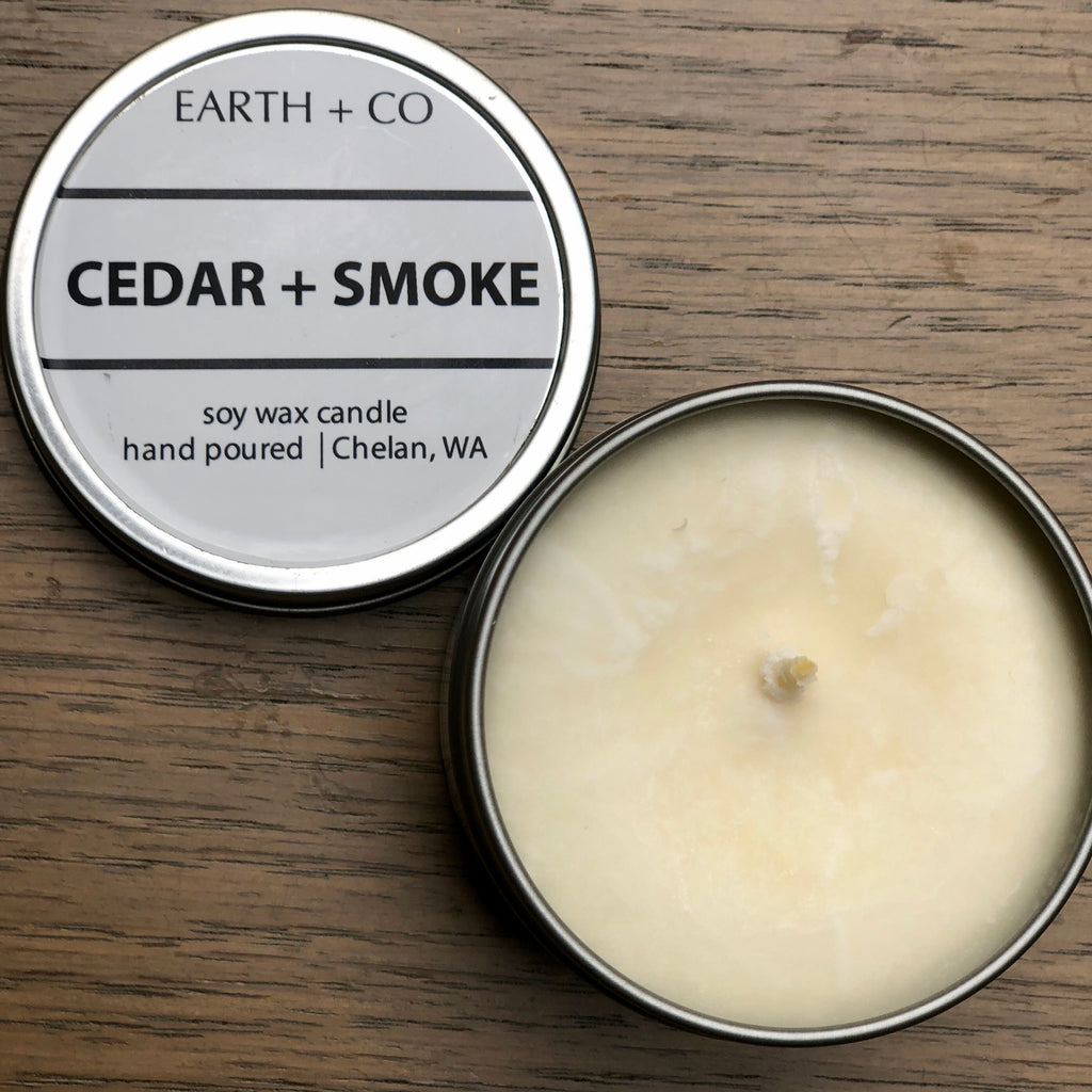 hand poured Soy Candle; cedar + smoke