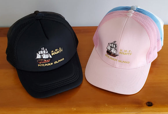 Mesh Back Baseball Cap - Embroidered HMS Bounty Decal