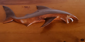 Hand Carved Shark Wall Hanging from Local Miro Wood - Large
