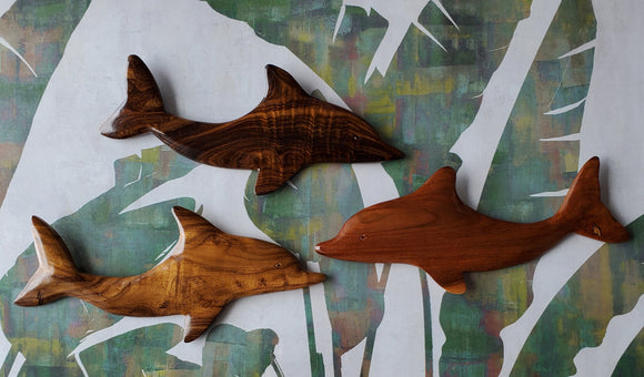 Hand carved Dolphin Wall Hanging from local Miro, Burau or Tau wood