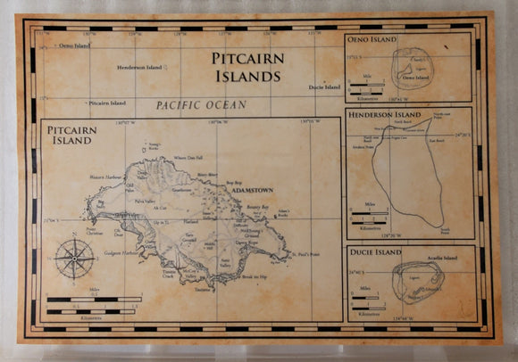 Pitcairn Island Map - Sepia Laminated Card Stock